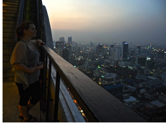 """Andrea's thoughtful shot overlooking Bangkok… """"To buy a £6 cocktail or not!?"""""""