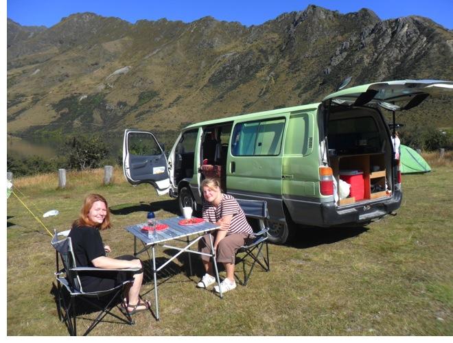 Our Hugo camper van in Queens Town, NZ.